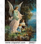 Clip Art of Retro Valentine of a Female Guardian Angel Watching over Two Little Children As They Play with a Ball and Hoop at the Edge of a Cliff, Circa 1890 by OldPixels