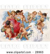 Clip Art of Retro Valentine of a Group of Playful Cherubs in the Clouds of Heaven, Decorating a Red Heart in Floral Garlands, Circa 1909 by OldPixels