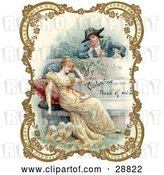 Clip Art of Retro Valentine of a Guy Holding a Flower and Looking over a Patio Wall, Admiring a Young Lady, Bordered by Golden Flowers, Circa 18th Century by OldPixels