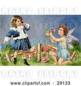 Clip Art of Retro Valentine of a Surprised Little Girl Leaning Back While Cupid Kneels Before Her, Offering Her Flowers in a Garden, Circa 1905 by OldPixels