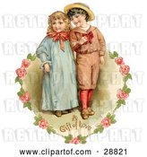 Clip Art of Retro Valentine of a Sweet Little Boy and Girl Strolling Arm in Arm, Looking off to the Side, Circled by a Heart of Pink Roses Circa 1886 by OldPixels
