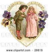Clip Art of Retro Valentine of a Sweet Little Boy Trying to Woo a Little Girl in a Heart of Leaves and Pansy Flowers, Circa 1890 by OldPixels