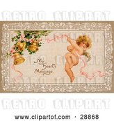 "Clip Art of Retro Valentine of Cupid Flying and Tugging on a Pink Ribbon Connected to Golden Ringing Bells with Text Reading ""My Heart's Message"" Circa 1910 by OldPixels"