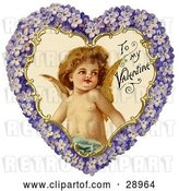 Clip Art of Retro Valentine of Cupid Smiling Inside a Purple Floral Forget Me Not Heart, Circa 1890 by OldPixels
