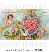 Clip Art of Retro Valentine of Three White Doves Flying Around Cupid Aiming an Arrow at a Heart Made of Pink Poppies and Blue Forget Me Nots, Circa 1910 by OldPixels