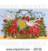 Clip Art of Retro Valentine of Two Doves Delivering a Basket of Red Roses with a Blank Forget Me Not Heart and a Little Message, Circa 1909 by OldPixels