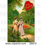 Clip Art of Retro Valentine of Two Ladies Strolling Through a Garden and Talking About a Guy in the Background by OldPixels