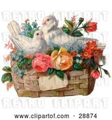 Clip Art of Retro Valentine of Two White Doves Nesting in a Basket of Forget Me Nots and Roses, Circa 1890 by OldPixels