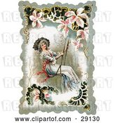 Clip Art of Retro Victorian Lady Smiling While Swinging on a Swing, Bordered by Scalloped Designs, Circa 1880 by OldPixels