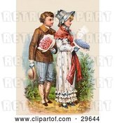 Clip Art of Retro Victorian Scene of a Boy Carrying Flowers and Walking Behind a Girl As She Reads a Love Letter, Circa 1886 by OldPixels