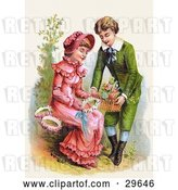Clip Art of Retro Victorian Scene of a Sweet Young Boy Giving a Girl a Basket of Flowers for Her to Make Wreaths With, Circa 1886 by OldPixels