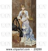 Clip Art of Retro Victorian Scene of a Young Lady in a Beautiful Dress, Resting Her Arms on a Chair and Looking off to the Right, Circa 1870 by OldPixels
