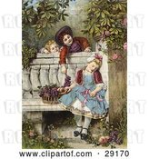 Clip Art of Retro Victorian Scene of Little Boys Flirting and Teasing a Little Girl Asleep on a Garden Bench with a Basket of Fruit, Circa 1850 by OldPixels