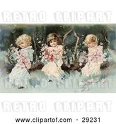 Clip Art of Retro Victorian Scene of Three Little Girls Sitting on a Fallen Tree and Making a Garland of the Pink Spring Blossoms, Circa 1890. by OldPixels