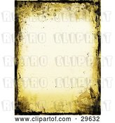 Clip Art of Retro Yellow and Black Grunge Border over an off White Stationery Background by KJ Pargeter
