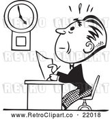 Clipart of a Retro Businessman Trying to Finish His Work on Time Before Deadline by BestVector