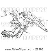 Clipart of a Retro Flying Angel by Prawny Vintage