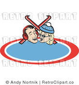 Retro Vector Clip Art of a Couple with Skis by Andy Nortnik