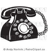 Royalty Free Retro Vector Clip Art of a Black and White Telephone by Andy Nortnik