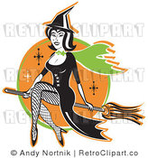 Royalty Free Retro Vector Clip Art of a Witch Riding Her Broom Stick by Andy Nortnik