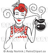 Royalty Free Vector Retro Clip Art of a 1950's Housewife Holding a Freshly Brewed Hot Pot of Coffee with Aroma Scents Swirling Around Her by Andy Nortnik