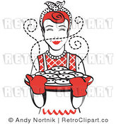 Royalty Free Vector Retro Clip Art of a 1950's Housewife Holding a Sheet Full of Hot Chocolate Chip Cookies Right out of the Oven by Andy Nortnik