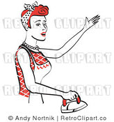 Royalty Free Vector Retro Clip Art of a 1950's Housewife or Maid Ironing Clothes by Andy Nortnik