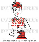 Royalty Free Vector Retro Clip Art of a 1950's Housewife or Maid Woman Using a Manual Coffee Grinder by Andy Nortnik