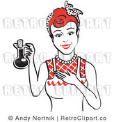 Royalty Free Vector Retro Clip Art of a 1950's Housewife Presenting a Full Bottle of Cooking Oil by Andy Nortnik