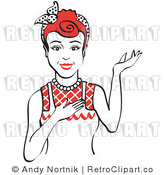 Royalty Free Vector Retro Clip Art of a 1950's Housewife, Waitress or Maid Standing with Presentation Stance by Andy Nortnik
