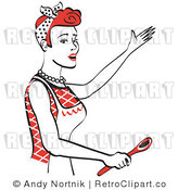 Royalty Free Vector Retro Illustration of a Red Haired Housewife or Maid Wearing an Apron While Presenting Something Spectacular with a Spoon in Her Hand by Andy Nortnik