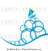 Royalty Free Vector Retro Illustration of a Sailboat Sailing on Circular Blue Bubble Waves by MilsiArt