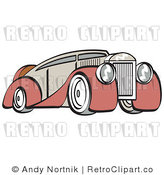 Royalty Free Vector Retro Illustration of an Old Red and Tan Colored Luxury Car by Andy Nortnik