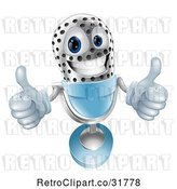 Vector Clip Art of 3d Silver and Blue Microphone Holding Two Thumbs up by AtStockIllustration