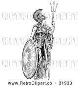 Vector Clip Art of a Confident Retro Black Outlined Athena Britannia with a Trident and Shield by AtStockIllustration