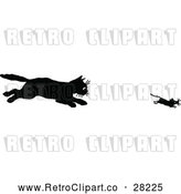 Vector Clip Art of a Hungry Retro Cat Chasing a Mouse by Prawny Vintage
