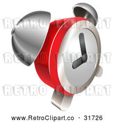 Vector Clip Art of a Modern Retro Red and Chrome Bell Alarm Clock by AtStockIllustration