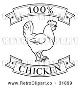 Vector Clip Art of a Retro '100 Percent Chicken' Food Banners with a Rooster in Black Lineart by AtStockIllustration