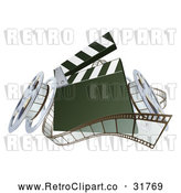 Vector Clip Art of a Retro 3d Film Reels Next to a Clapper Board by AtStockIllustration