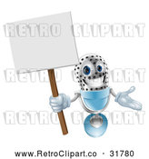 Vector Clip Art of a Retro 3d Happy Microphone Mascot Holding a Sign by AtStockIllustration