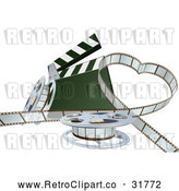 Vector Clip Art of a Retro 3d Movie Film Strip Forming a Love Heart Beside a Clapper and Reels by AtStockIllustration