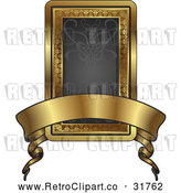 Vector Clip Art of a Retro Black and Gold Banner Frame with Blank Space by AtStockIllustration
