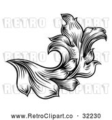 Vector Clip Art of a Retro Black and White Floral Leaf Design by AtStockIllustration