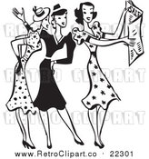 Vector Clip Art of a Retro Black and White Group of Women with Sale Ads by BestVector