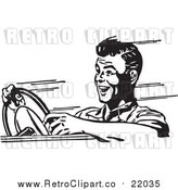 Vector Clip Art of a Retro Black and White Man Speeding in a Car by BestVector