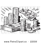 Vector Clip Art of a Retro Black and White Stash of Coins and Cash by BestVector