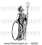 Vector Clip Art of a Retro Black Athena Britannia with a Trident and Shield by AtStockIllustration