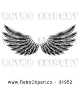 Vector Clip Art of a Retro Black Feathered Wings by AtStockIllustration