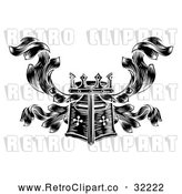 Vector Clip Art of a Retro Black Knight's Great Helm Helmet and Foliage Crest Coat of Arms by AtStockIllustration