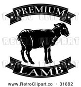 Vector Clip Art of a Retro Black Premium Lamb Food Banners and Sheep by AtStockIllustration
